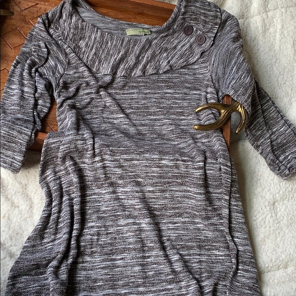 my lil bump Tops - Maternity Sweater Heather Taupe Brown Small Button